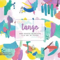 INSTANT DOWNLOAD  Tango Bright Abstract Watercolor by PepperStudio