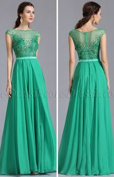 Green Embroidered Evening Dress
