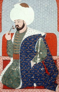 """Mehmed I, portrait from sixteenth century manuscript, H 1563, """"The Genealogy of the Ottoman Sultans"""", Topkapi Palace Museum, Istanbul, Turkey"""
