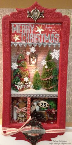 Richele Christensen: CHA....Configuration madness. This one has a shaker box with snow, uses the lighted lantern from idea-ology and other Christmas goodies from Tim Holtz.