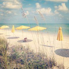 Yellow umbrellas on Sanibel Island | Instagram photo by @lilllbe