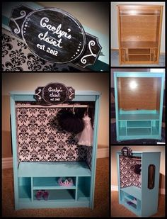 Dress Up Station From Old Entertainment Center | Upcycled Entertainment  Centers | Pinterest | Diy Dress, Entertainment And Upcycle