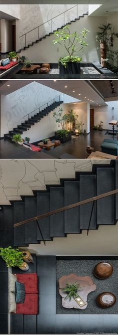 A small sunken, pebbled courtyard cum seating adds one more layer of interest to the large split-level living-dining expanse of the Skewed House. Interior Garden, Home Interior Design, Interior Architecture, Interior And Exterior, Modern Interior, Interior Stairs, Design Interiors, Interior Ideas, Indian Home Design