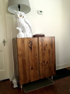 stained IVAR pine cabinet - with legs added Ikea Makeover, Cabinet Makeover, Furniture Makeover, Diy Furniture Projects, Upcycled Furniture, Furniture Design, Pine Cabinets, Staining Cabinets, Ikea Malm