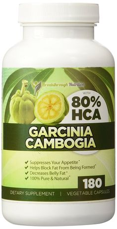 Garcinia Cambogia 80% HCA, Pure, Safe and Natural Weight Loss Diet Pills, Results Or Your Money Back! No Fillers Or Side Effects, Most Effective Fat Burner, Extra Strength Fruit Extract, 180 Capsules _€Breakthrough Nutrition -- Wow! I love this. Check it out now! : Garcinia cambogia