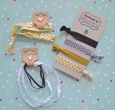 Packaging /Easy DIY Elastic Hair Ties and Headbands DIY hairties elastic chevron gold polkadot hobbylobby lace headband blackandwhite ontheblog handmade craft www.letsglitterandglue.com