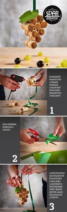 Szőlőfürt parafából: Készítsünk egyedi dekorációt parafa dugóból! A szüreti…