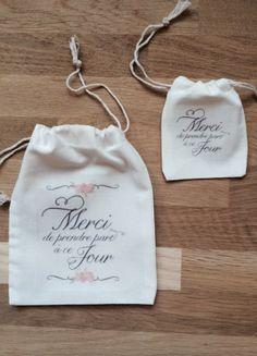 Pochon, sac en coton personnalisé pour emballage cadeau témoin