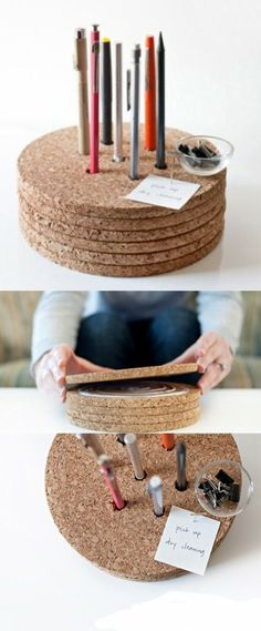 great idea for my art paint brushes, use those large corks from the wedding and then put on lazy susan