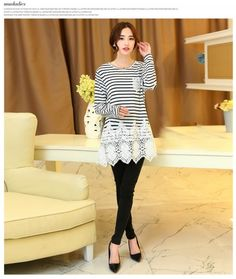 Sleeved Loose T-shirt Stripes Are Bottoming Shirt Black LG15033005.http://www.clothing-dropship.com