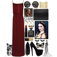 Sansa Stark by tyabluue on Polyvore featuring Boohoo, Shoe Republic LA, Dorothy Perkins, Paloma Picasso, ASOS, Giles & Brother, The Row, Rimmel, Chanel and Guerlain
