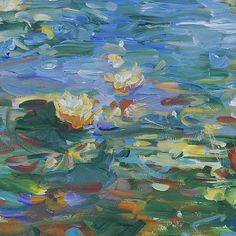ORIGINAL acrylic painting, Water Lilies #2 is painted on heavy 140lb watercolor paper.    All materials are archival. Paper size is 22 x 30.