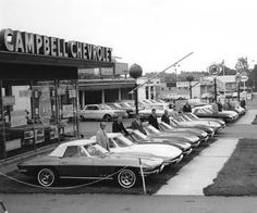 1965 Corvettes lined up for sale at Campbell Chevrolet