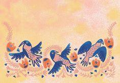 Orie's animal art. #鳥の絵 #鳥 #イラスト #おしゃれイラスト #幸せの青い鳥 Blue Bird, Rooster, Happy, Painting, Animals, Animales, Animaux, Painting Art, Ser Feliz