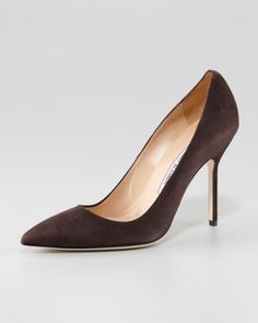 BB Suede Pointed Toe Pump by Manolo Blahnik at Neiman Marcus.