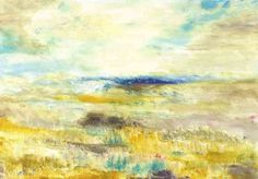 A beautiful abstracted landscape in yellows and blues. This piece has a mate, Afternoon Horizon II