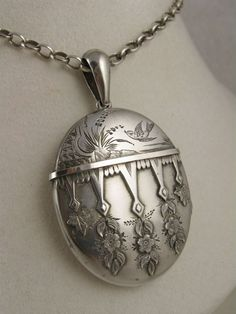 Superb Antique Victorian Aesthetic Movement Large Silver Locket - Full English Hallmarks