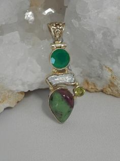 Ruby in Zoisite Pendant 11 with Emerald, Pearl and Peridot - Andrea Jaye Collection