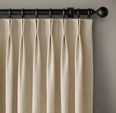 2-Fold French Pleat Drapery from RH Modern.  246 fabric options.  Swatches available.  Custom length & width.Choose from 4 lining styles: unlined, privacy, blackout, or privacy with interlining.  Pre-installed with drapery hooks for hanging with loop rings (sold separately)
