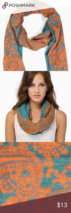 🌜BEAUTIFUL patterned teal scarf!🌟 Scarf in teal & orange! 👒 Tobi Accessories Scarves & Wraps