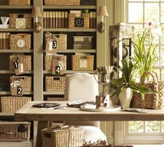Love the basket idea for organizing misc stuff on shelving...