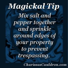 Occult Witchcraft + Magick: Magickal Tip (Salt and Pepper for Trespassing) Witchcraft Spell Books, Wiccan Spell Book, Wiccan Witch, Magick Spells, Witch Spell, Magick Book, Healing Spells, Affirmations, Eclectic Witch