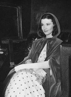 "Vivien Leigh on the set of ""Waterloo Bridge"" (1940) Miss Leigh's gowns by Adrian"