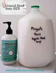Homemade Liquid Hand Soap. Nothing smells better that Mrs. Meyer's Basil! Make a gallon for about $5.