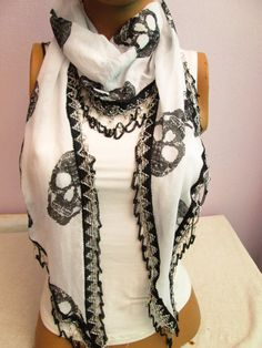 Black and White skull Scarf With speacial chain,Elegance Scarf,Women Scarf,Scarves