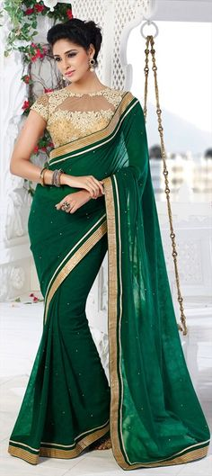 EMERALD GREEN - Plus, a sexy sheer blouse! #saree #Partywear #bride #wedding