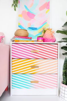 DIY Gradient Stripe Dresser