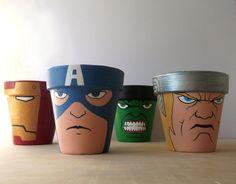 Avengers Iron Man Captain America Hulk Thor painted flower pot set Marvel Superheroes. $64.00, via Etsy.