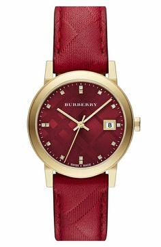 Burberry designer Armbanduhr in Rot