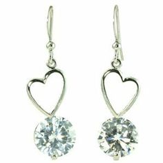 Heart Shaped Frame Drop with Large White CZ Dangle Earrings le Jane. $17.00