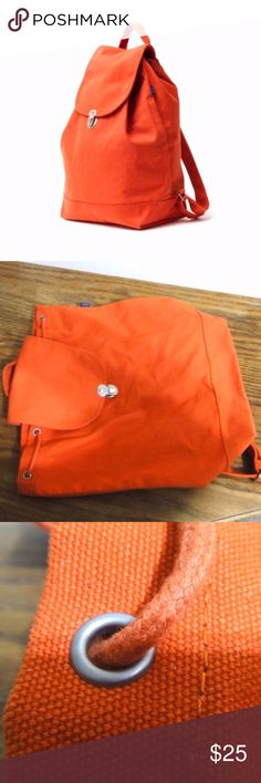 Baggu Canvas Drawstring Backpack Clay Beautiful warm and bright clay color and cool minimalist design from 2014. In great condition, almost looks like new! Fits 13'' laptops. https://baggu.com/collections/category-backpacks/products/drawstring-backpack-canvas?variant=30967684935 baggu Bags Backpacks