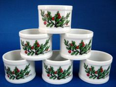 Cranberry Napkin Ring Set Of 6 White Ceramic Pretty Red And Green – Antiques And Teacups