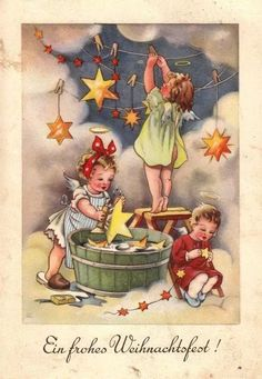 Cartolina di Buon Natale tedesca con angeli e stelle dorate. -- Postcard of Merry Christmas with angels and golden stars. Vintage Christmas Images, Victorian Christmas, Retro Christmas, Christmas Pictures, Kids Christmas, Illustration Noel, Christmas Illustration, Christmas Scenes, Christmas Angels