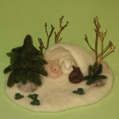 "Winter Bunny Burrow with Pine Tree-needle felted scene (This would be GREAT for the telling of the winter story ""Rabbit's Gift""!!!)"