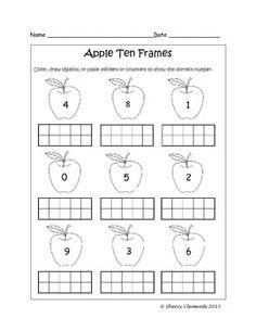 Ten Frames - Fall (apples, leaves, pumpkins, bats, and turkeys) (0-10)