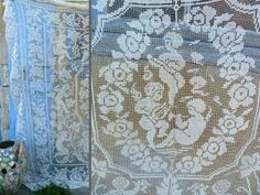 Antique Edwardian French  filet lace bedspread figure cherubs / cover/ coverlet