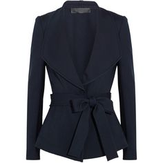 Donna Karan New York Belted crepe jacket ($479) ❤ liked on Polyvore featuring outerwear, jackets, coats, blazers, blazers & jackets, navy, blazer jacket, navy blue jacket, waterfall blazer and drape jacket