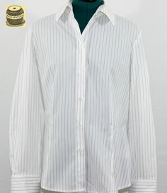 On Sale White Cotton Button Down Pinstripe Blouse with collar. By Esprit. $17.99