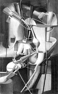 Marcel Duchamp, Bride, 1912; Duchamp's Bride is indeed a factory girl. The equation of machine action, pumping pistons and all that, with sex, was a commonplace in literature from the 1880's on, and was taken up in painting in the early twentieth century. But Duchamp's work is not the simple confusion of relentless metal motion with sexual sadism. It is rather a scientist's admiration of the superb engine that is the body
