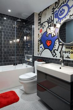 Kids Bathroom Ideas   Love The Double Sinks, Open Shelves Underneath Sinks,  Glass Shower Door, Colourful Mirror And Tree Towel Hook Mural   Actually  Like ...