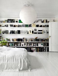 interior, design bedroom, bedroom decor, bedroom shelves, book, white rooms, white bedrooms, wall shelves, bedroom designs