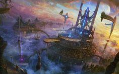 clouds landscapes cityscapes futuristic planets architecture bridges fantasy art science fiction towers Canvas Wall Poster