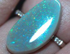 White Opal - 1.67ct Lightning Ridge Opal, Australian Opal, Loose Opal, Single Opal, Baroque Shape by MsOpalWorld on Etsy