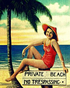 Retro pin up girl beach photograph PRIVATE BEACH  decor 11x14 16x20 1940s Florida beach lover gift
