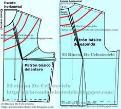 Trazar pinza correctiva a diferentes amplitudes de escotes redondos
