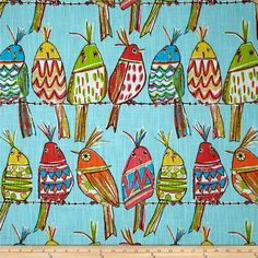 Richloom R Gallery Sitting Pretty Sky from @fabricdotcom  Screen printed on (approx. 8 ounce) cotton slub duck, this versatile, medium weight fabric is perfect for window accents (draperies, valances, curtains and swags), accent pillows, bed skirts, duvet covers, slipcovers, upholstery and other home decor accents. Create handbags, tote bags, aprons and more. Colors include gold, lime, orange, yellow, hot pink and white on a sky blue background.